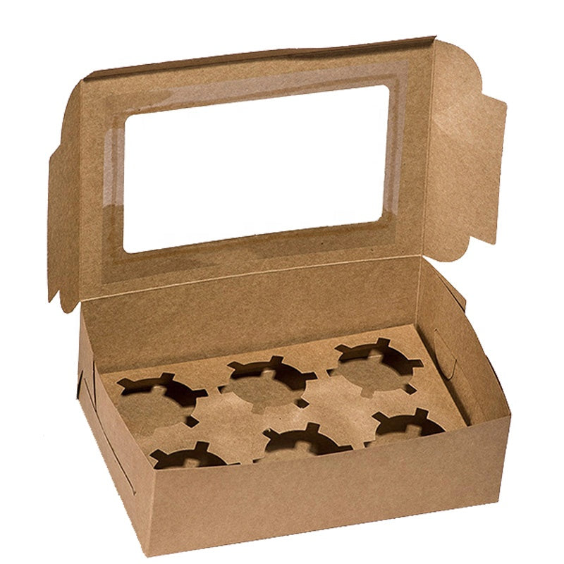 Kraft Paper Cupcake Boxes-2/4/6 Holes - cake boxes, cupcake boxes, thecakeboxes