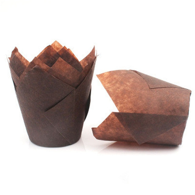 Muffin Brown Tulip Cases - cake boxes, cupcake boxes, thecakeboxes