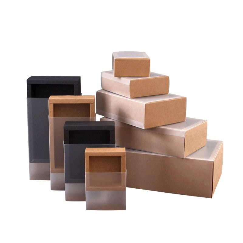 Kraft Paper Packing Box With Transparent PVC Window Black Delicate Drawer - cake boxes, cupcake boxes, thecakeboxes