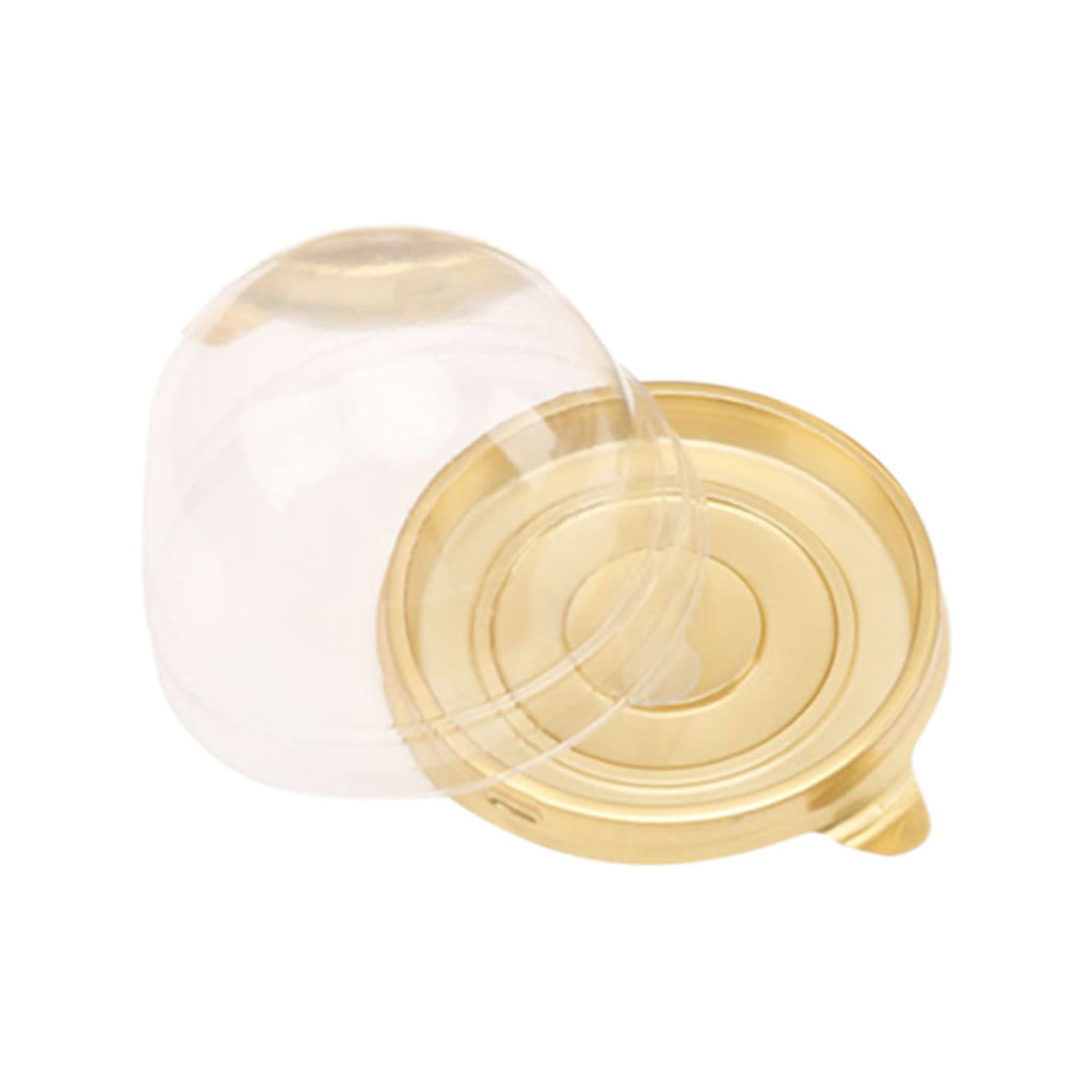 Gold Transparent Single Cupcake Containers - thecakeboxes