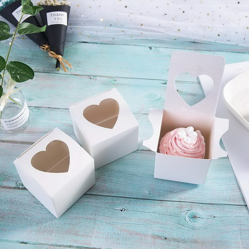 Single Cupcake Box with Hearts - cake boxes, cupcake boxes, thecakeboxes