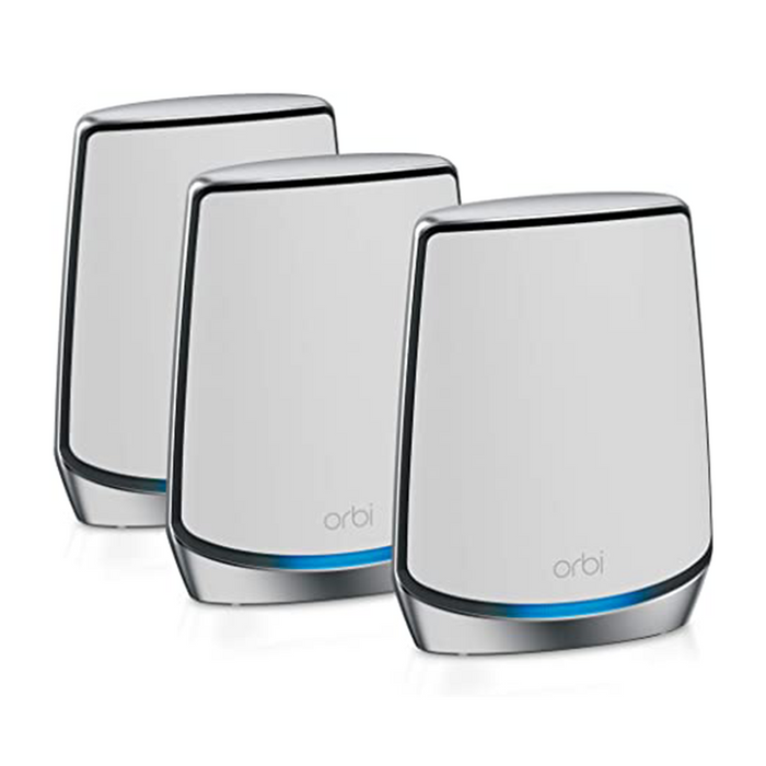 NETGEAR RBK853 Orbi Tri-Band WiFi 6 Mesh System Wifi 6 Router With 2 Satellite Extenders | Coverage up to 6,000 sq. ft. and 60+ Devices | 11AX Mesh AX6000 WiFi (Up to 6Gbps)