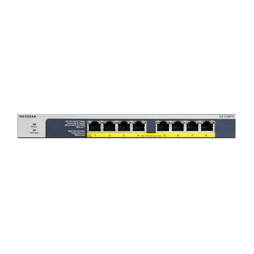 NETGEAR 8-Port Gigabit Ethernet Unmanaged PoE Switch (GS108PP) - with 8 x PoE+ @ 123W Upgradeable, Desktop/Rackmount, and ProSAFE Limited Lifetime Protection