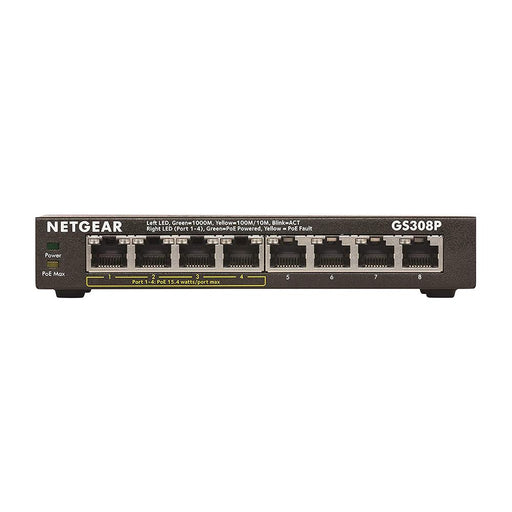 NETGEAR 8-Port Gigabit Ethernet Unmanaged PoE Switch (GS308P) - with 4 x PoE @ 55W, Desktop, Sturdy Metal Fanless Housing