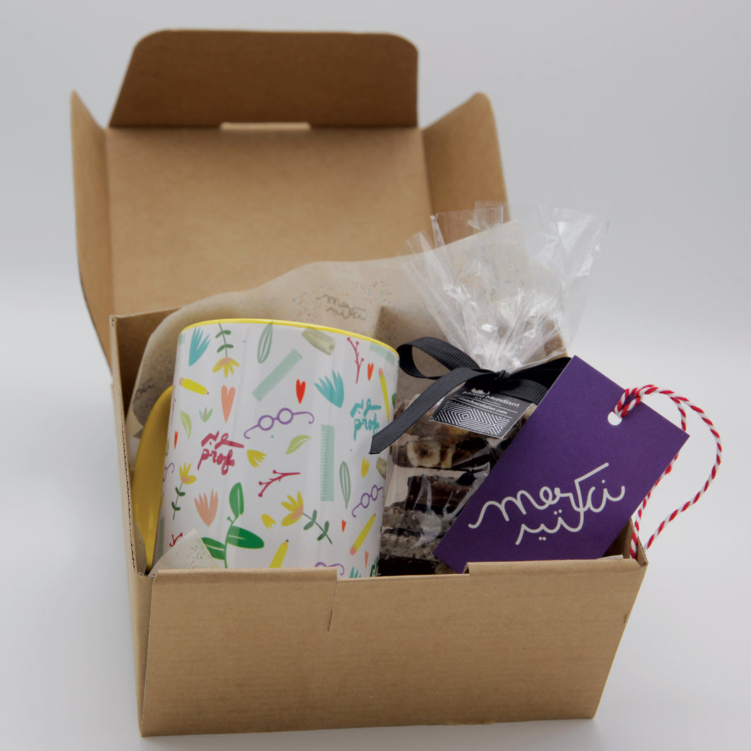 Teacher's Gift Box with Mug Super Prof Pattern + chocolate