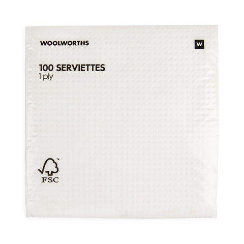 1 Ply Plain Serviettes 100Pk