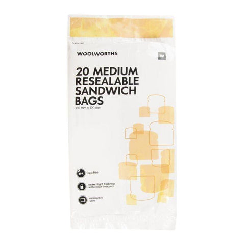 Medium Resealable Sandwich Bags 20Pk