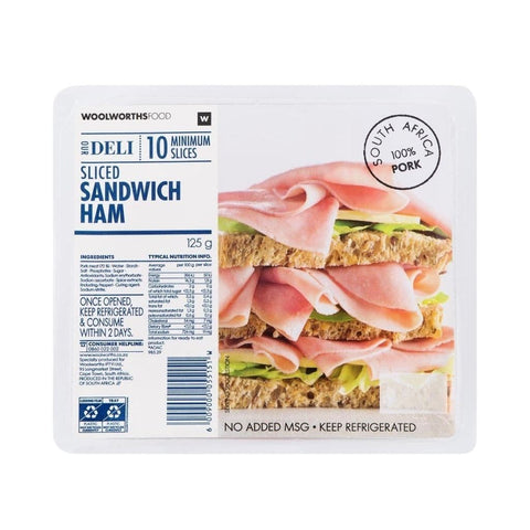 Sliced Sandwich Ham 125G Fresh Food
