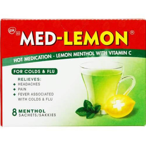 Med-Lemon Hot Medication Lemon Menthol With Vitamin C 8 Sachets
