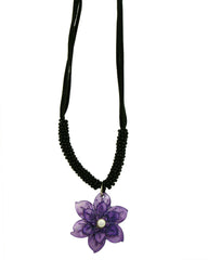 Purple Plumeria and Pearl Necklace on Black Velvet