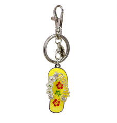 "Hawaiian Flip Flop ""Slippahs"" Keychain in Yellow"