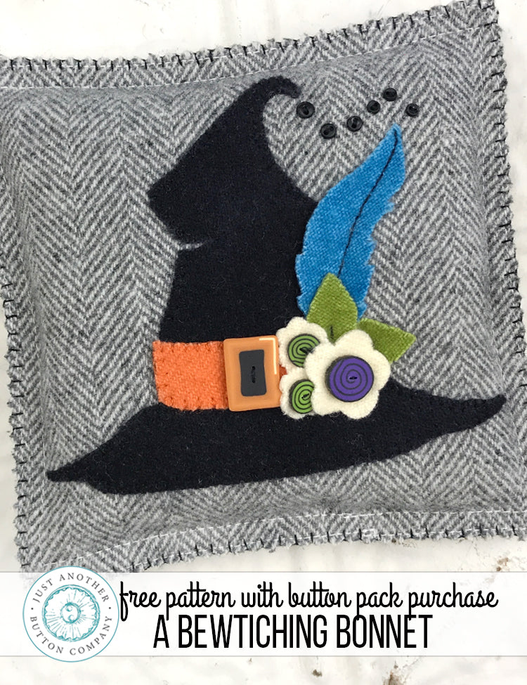 Free Pattern with Button Pack Purchase: A Bewitching Bonnet