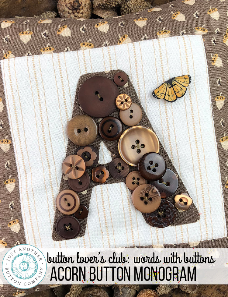 Button Lover's Club: Words With Buttons | Acorn Button Monogram