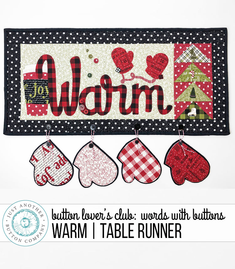 Button Lover's Club: Words With Buttons Warm Table Runner