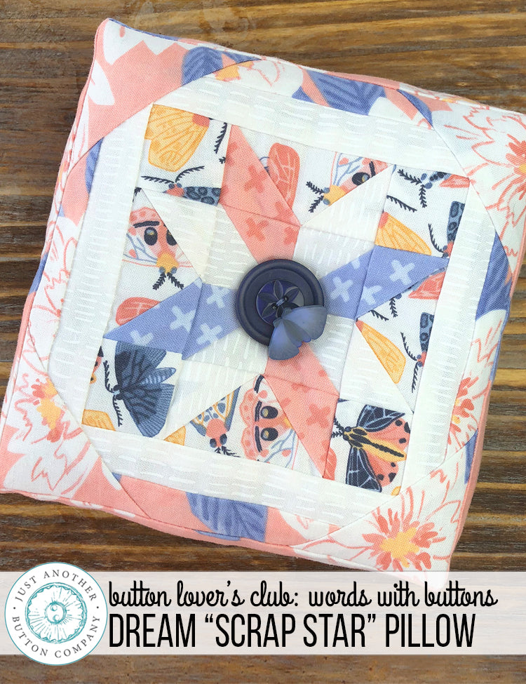 "Button Lover's Club: Words With Buttons Dream ""Scrap Star"" Pillow"