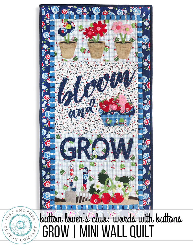 Button Lover's Club: Words With Buttons Bloom & Grow Mini Wall Quilt