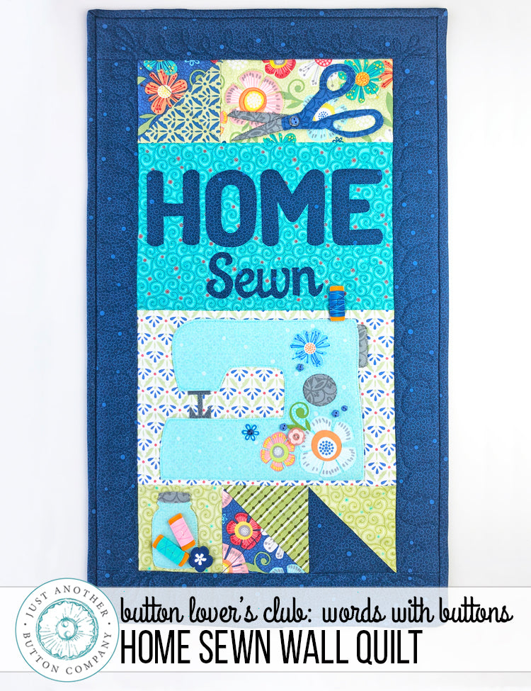 Button Lover's Club: Words With Buttons Home Sewn Wall Quilt