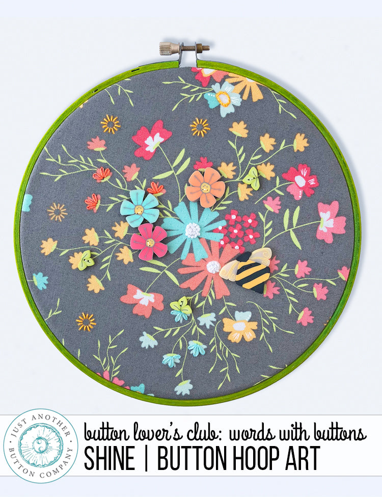 Button Lover's Club: Words with Buttons | Shine Button Hoop Art