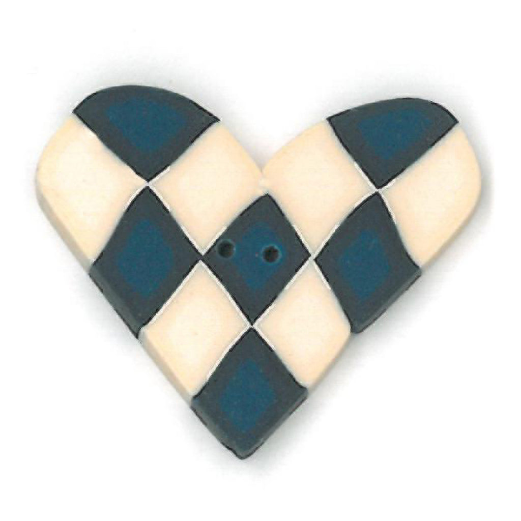 overdyed blue & white checked heart