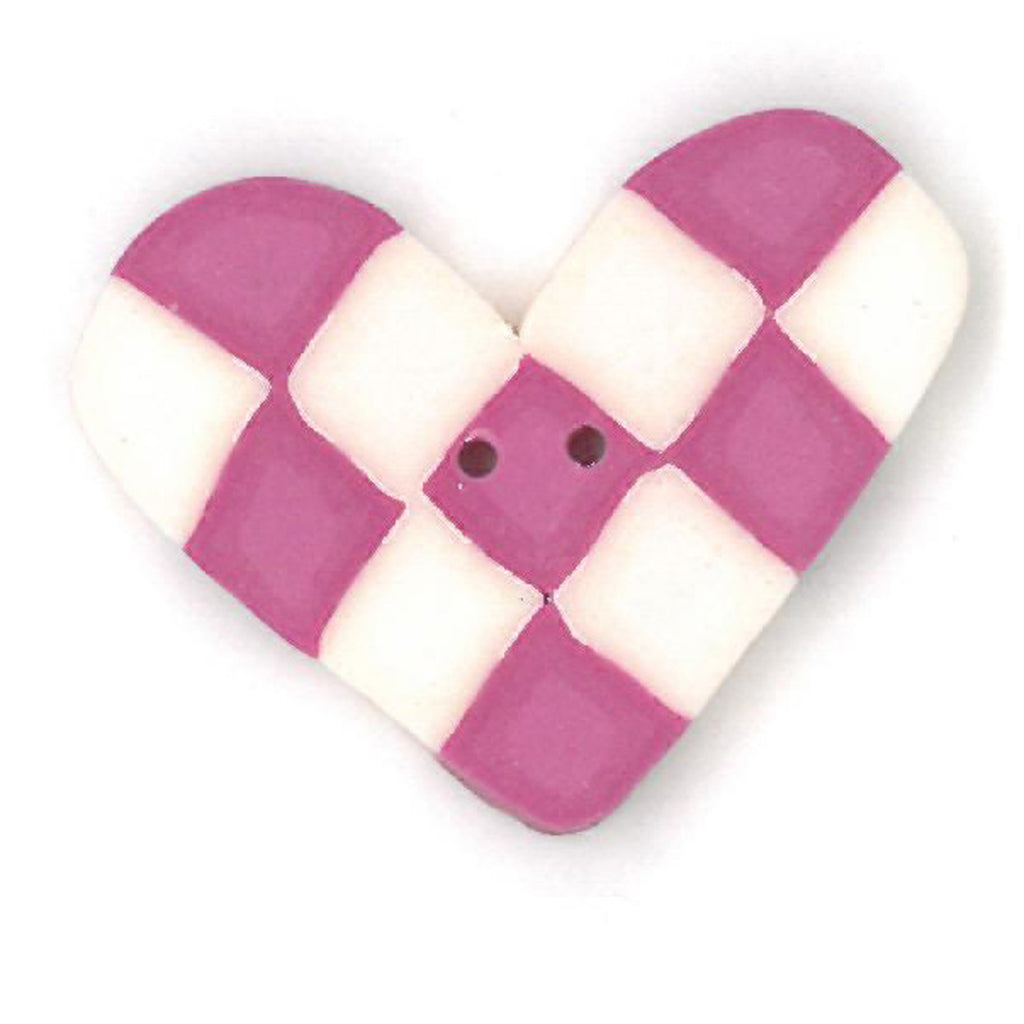 pink & white checked heart