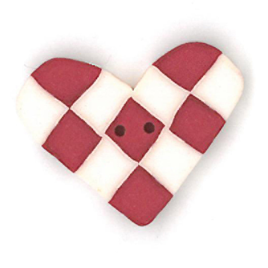 small red & white checked heart