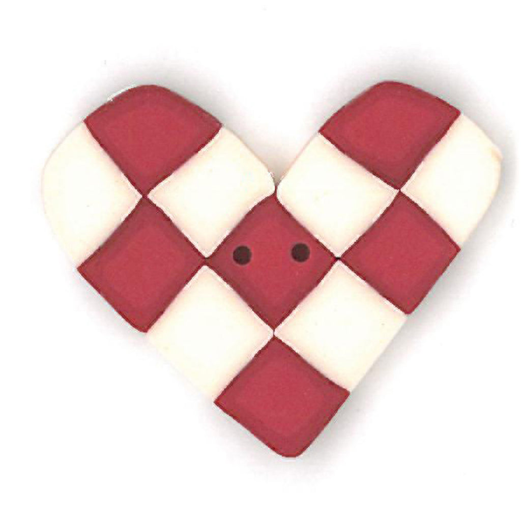 large red & white checked heart
