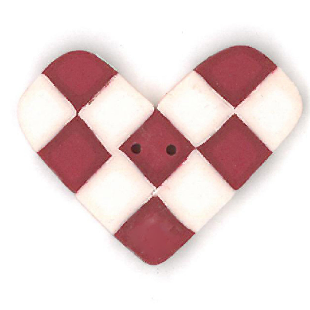 overdyed red & white checked heart