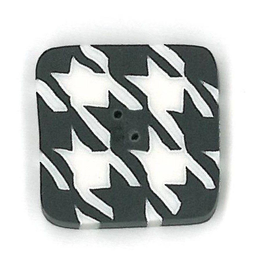 black and white houndstooth button