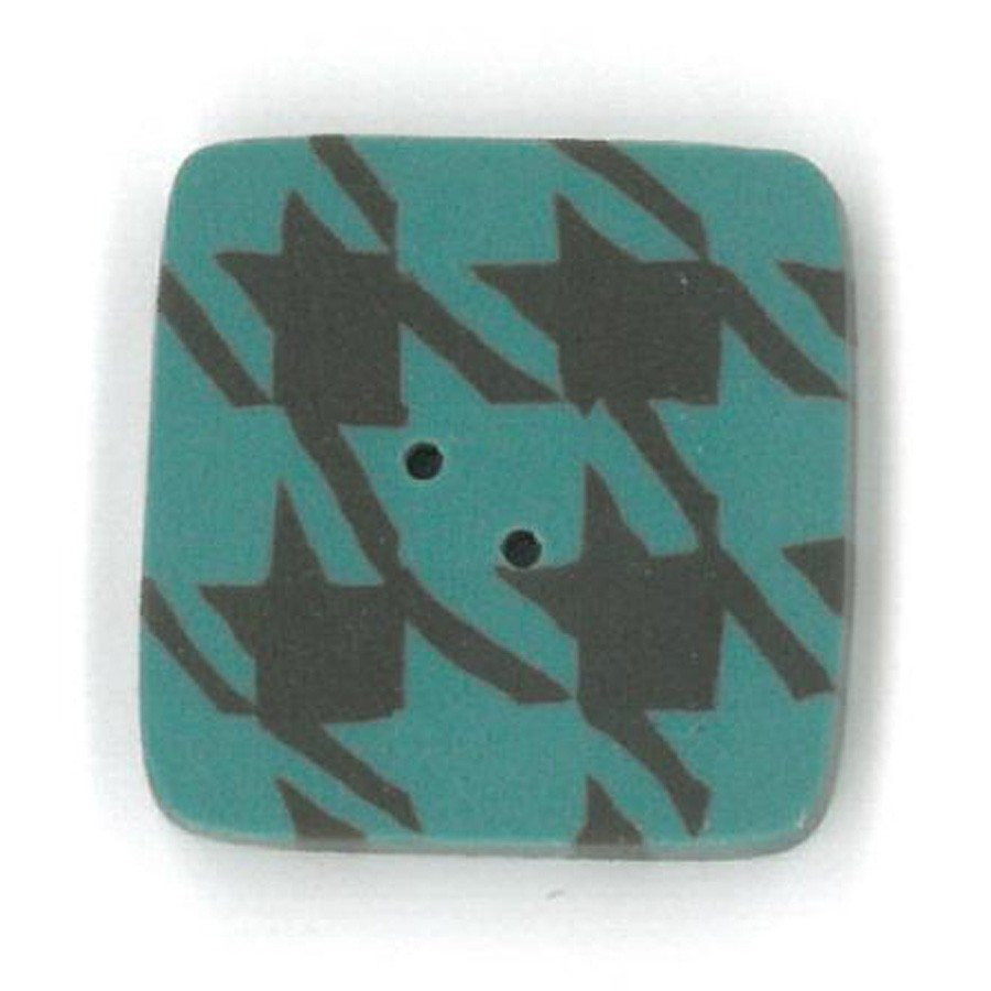 brown and teal houndstooth button