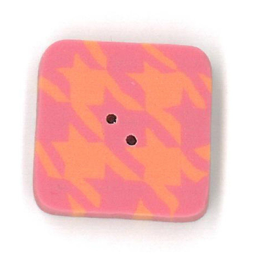 pink and orange houndstooth button