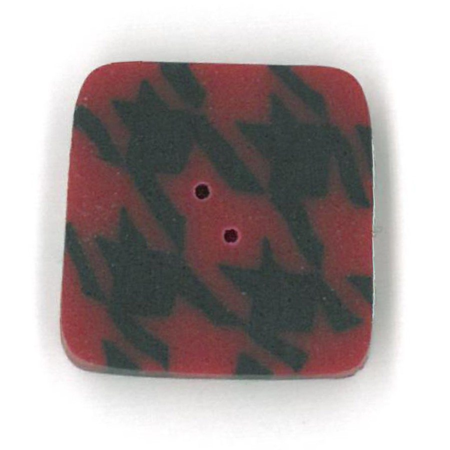 red and black houndstooth button