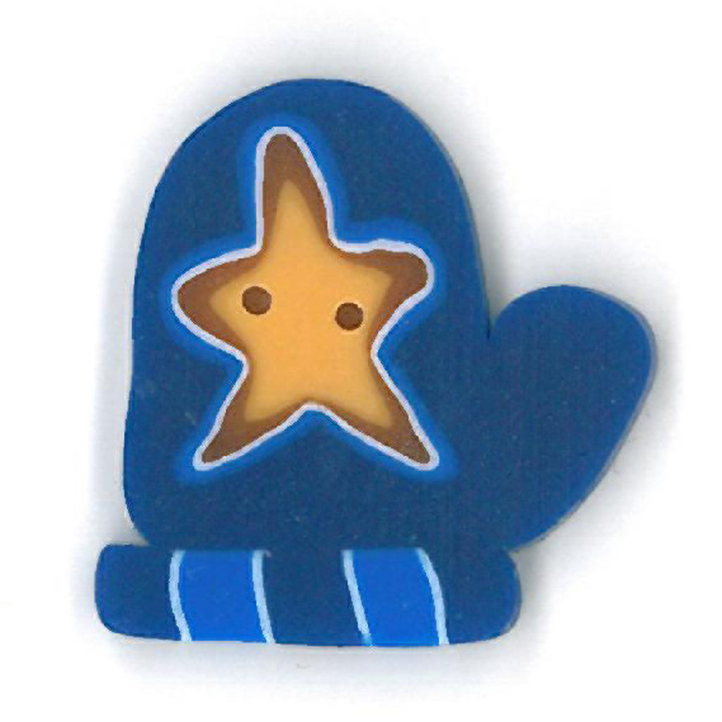 large blue mitten with star