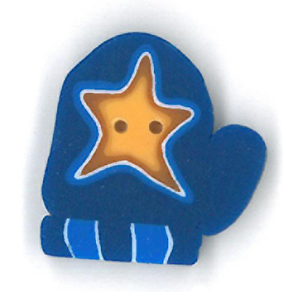 small blue mitten with star