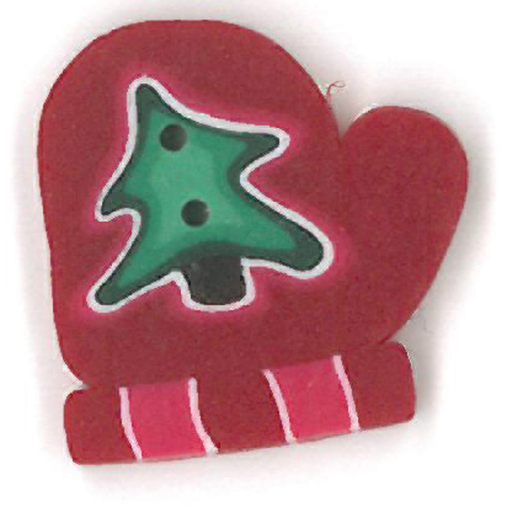 small red mitten with tree