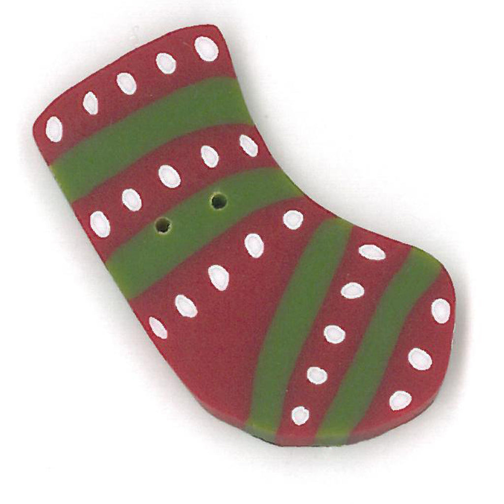 small red & green stripe stocking
