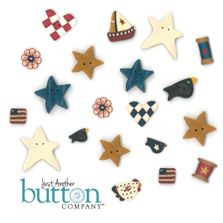 Just Another Button Company button pack for Country collectibles garland