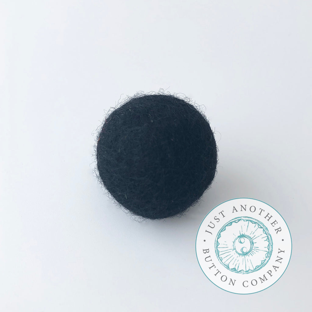 Black Felted-Wool Ball - 3CM