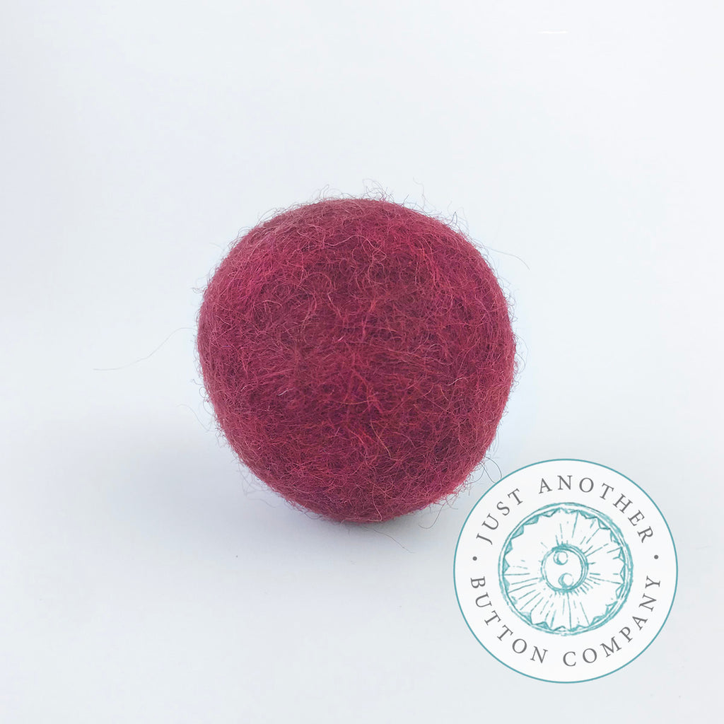 Deep Red Felted-Wool Ball - 3CM