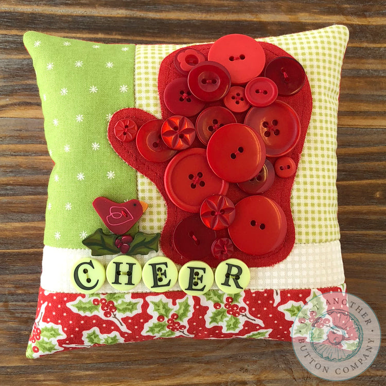 Mitten Button Appliqué Pillow Pattern PDF