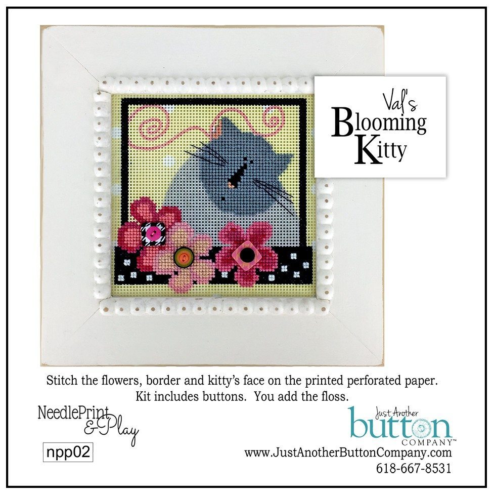 JABC - Cross Stitch Patterns - Val's Kitty Perforated Paper Kit