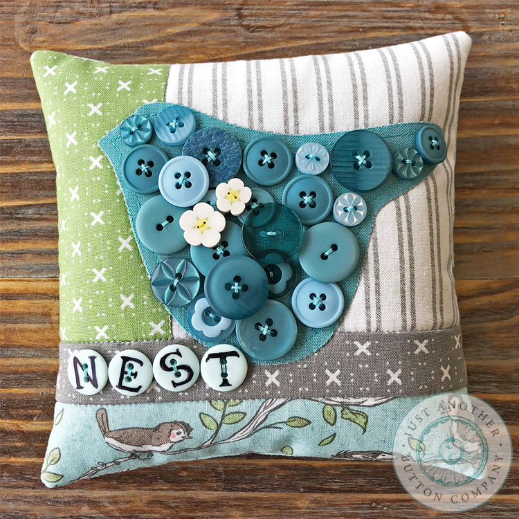 Nest Button Appliqué Pillow Pattern PDF