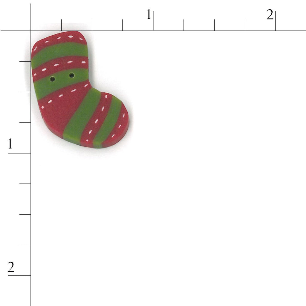 tiny red & green stripe stocking