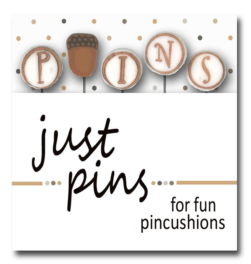 Just Another Button Company pin pack p is for pins acorn
