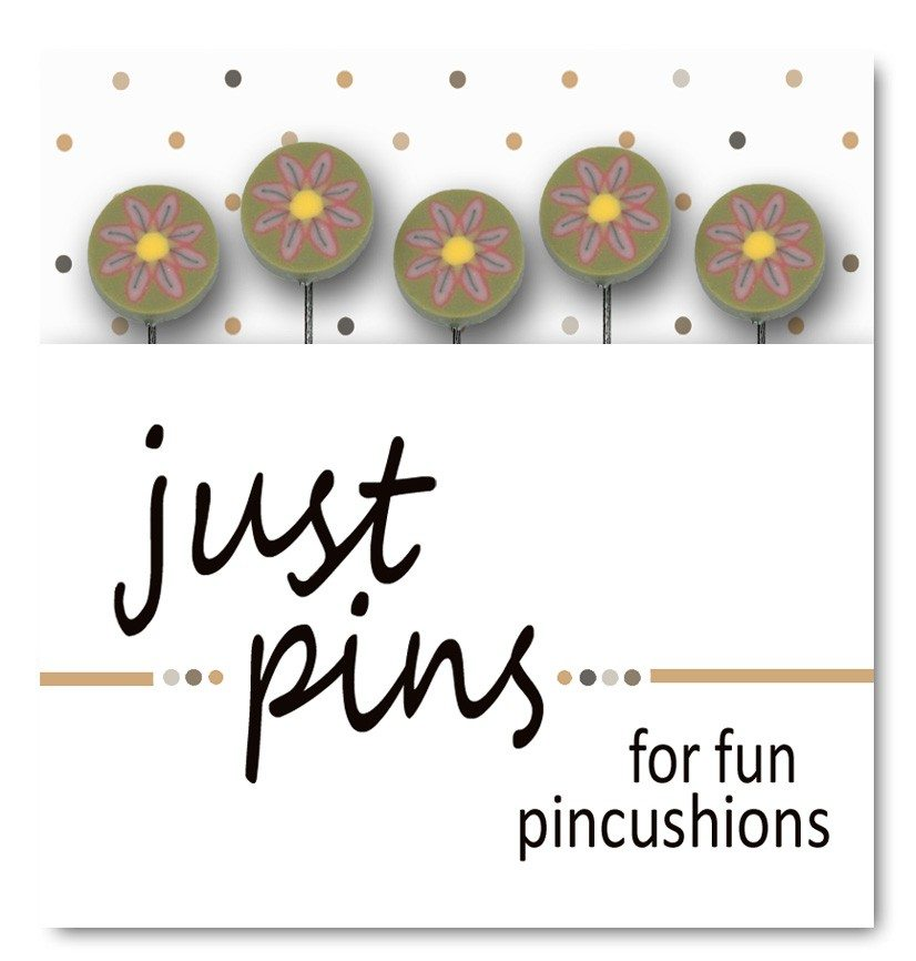 JABC - Just Pins - Just Pink Daisies on Green