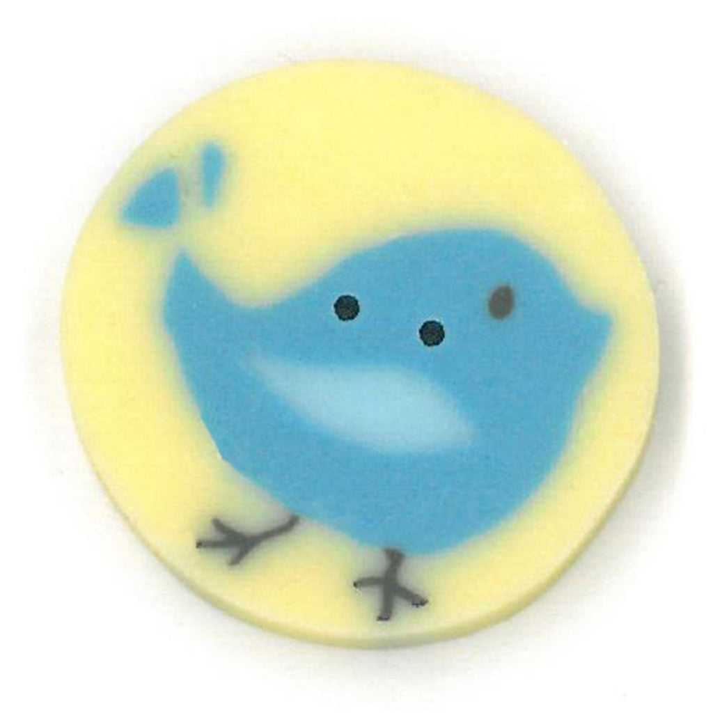 large blue tweet on yellow