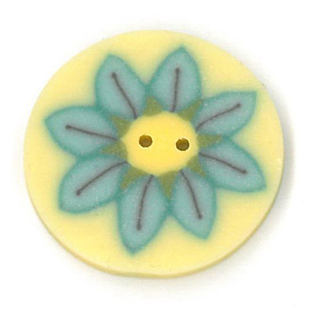 large teal daisy on yellow