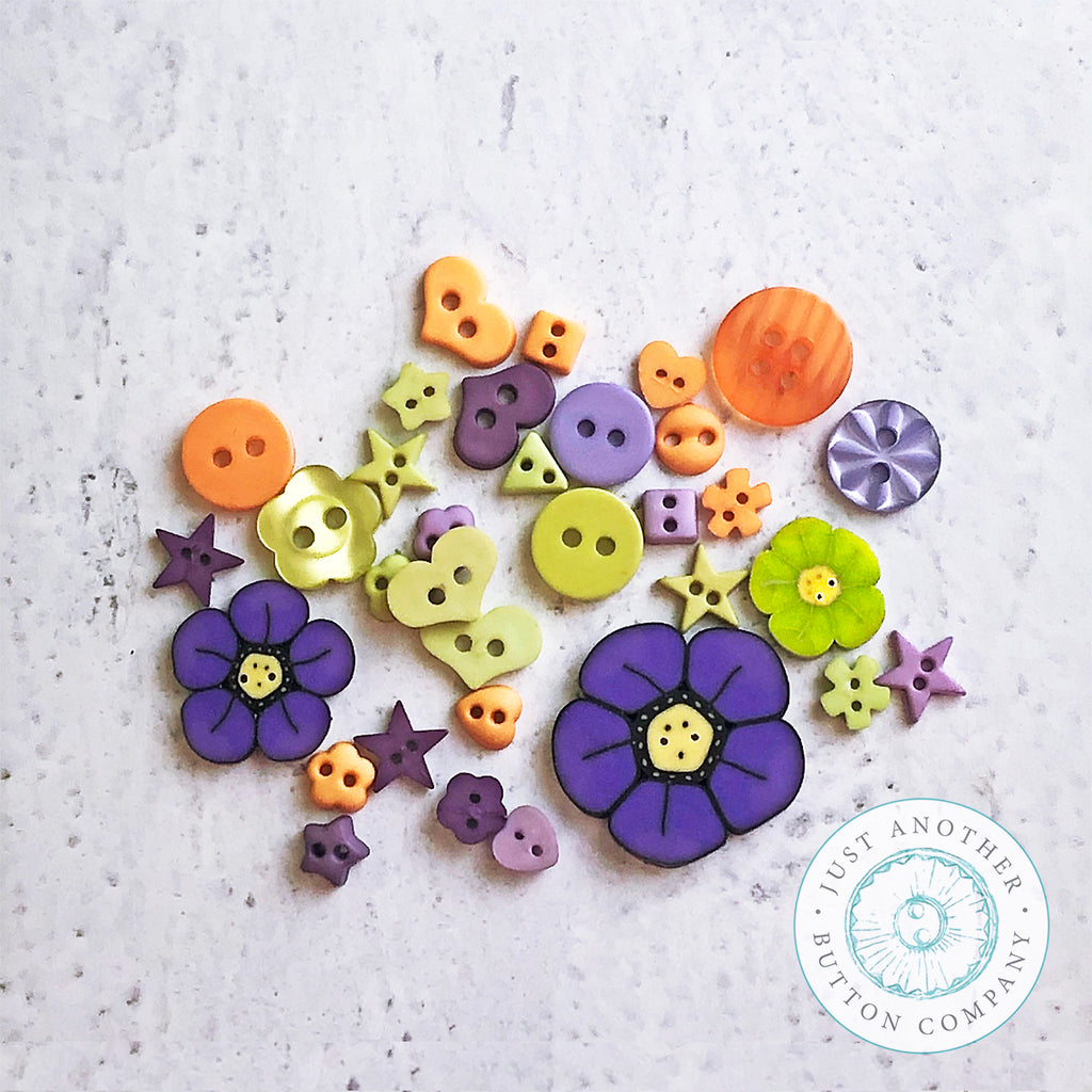 Pumpkin Floral Mix - Just-for-Fun Button Collection