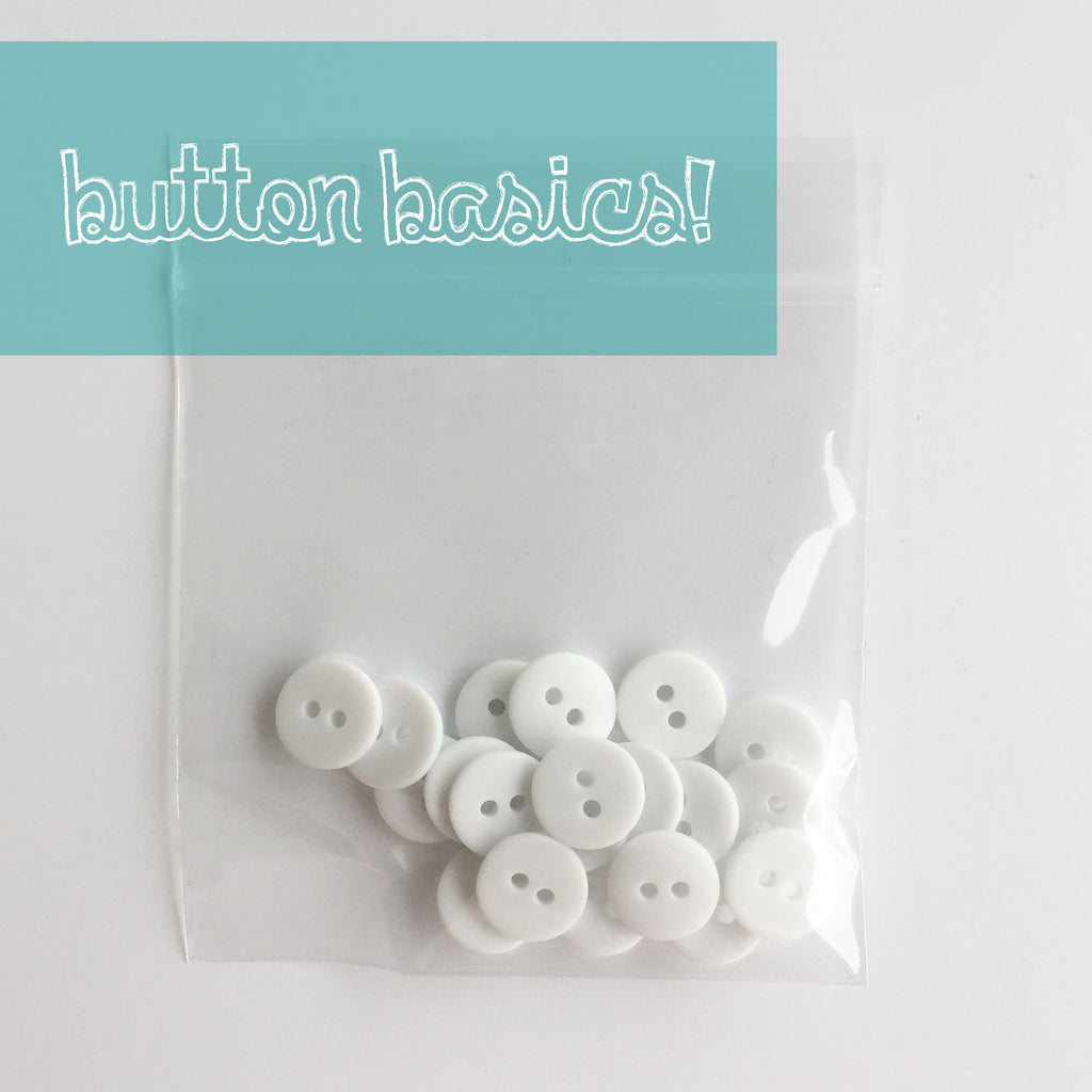 white hand dyed buttons 1/2""