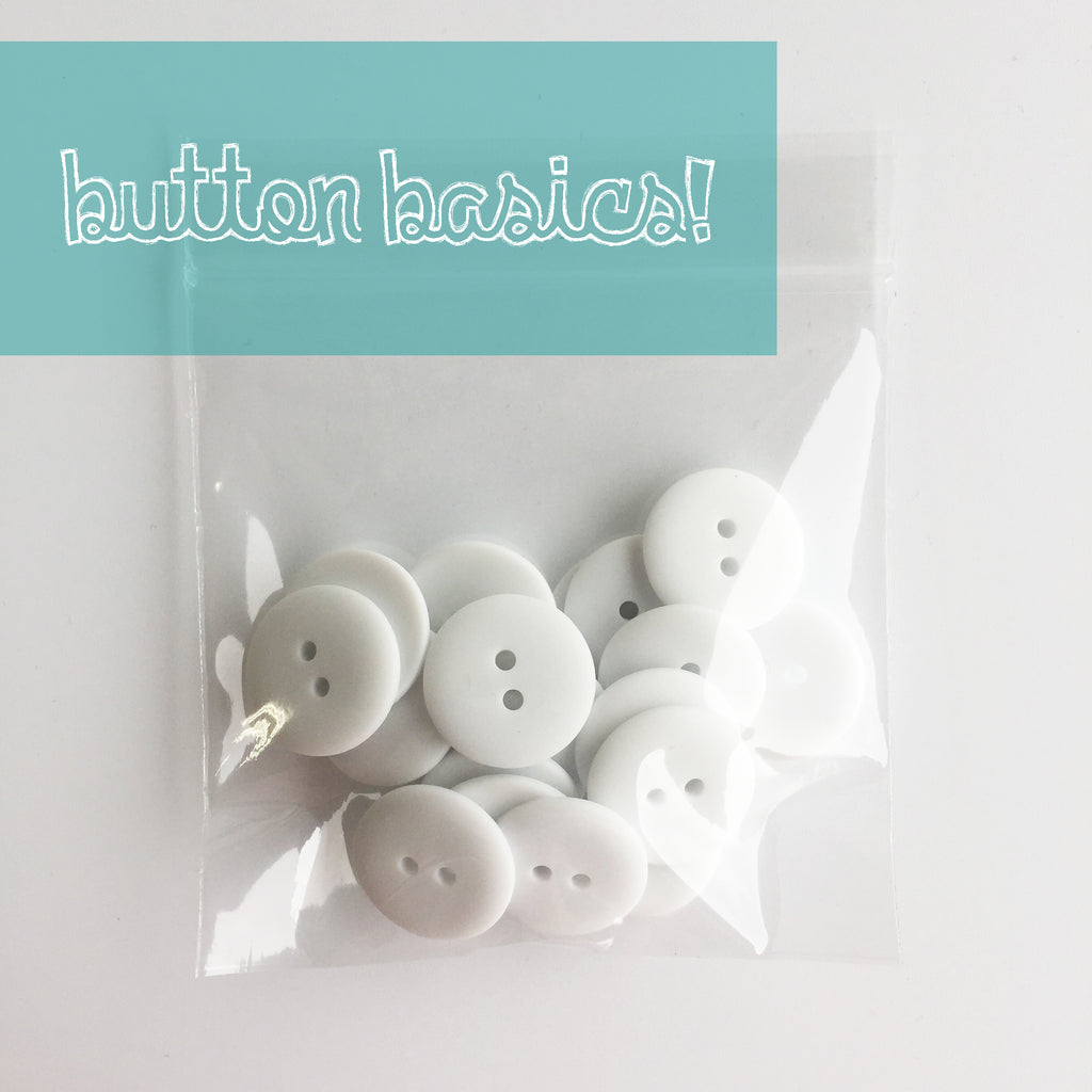white hand dyed buttons 3/4""