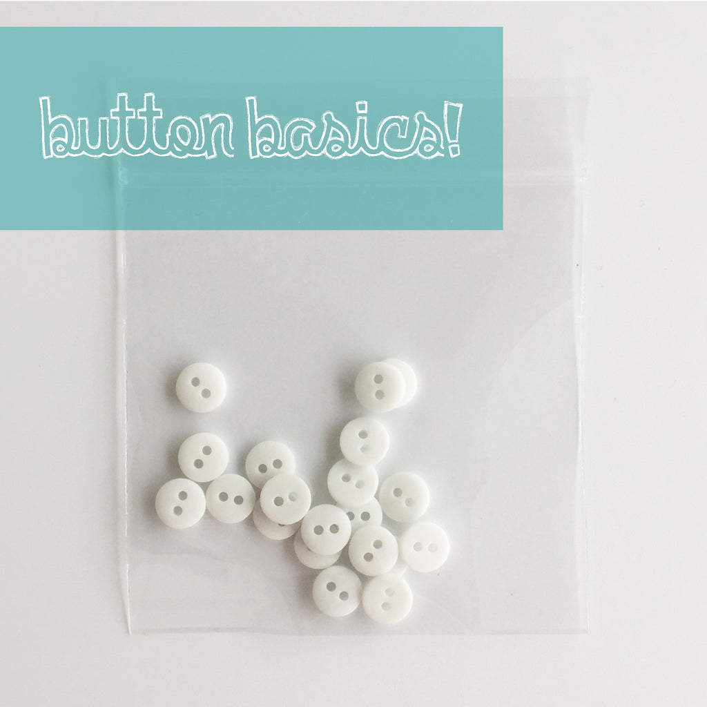 white hand dyed buttons 5/16""